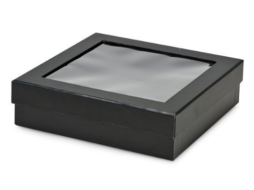 BULK Black X-LARGE Gourmet RigidWindow Box 7-7/8x7-7/8x2-1/8'' (1 unit, 18 pack per unit.) by Nas