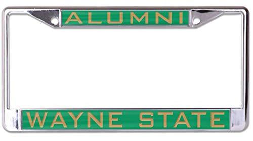Wayne State University Alumni Premium License Plate Frame, Metal with Inlaid Acrylic, 2 Mount Holes, Green (Best Auto Tags Wayne)