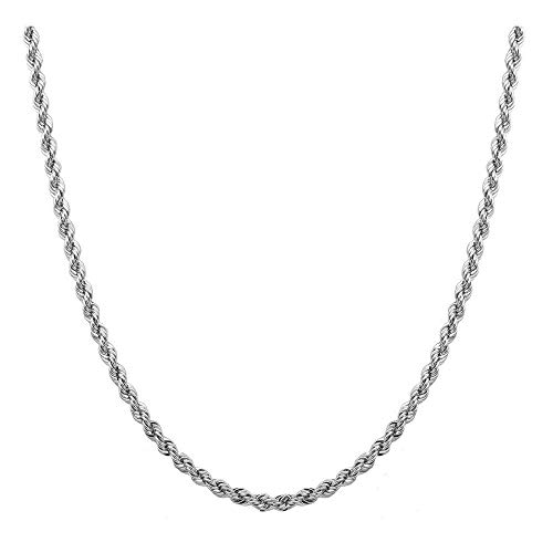 (Sterling Silver 2mm diamond cut rope chain necklace- Made In Italy (Rhodium, 22))