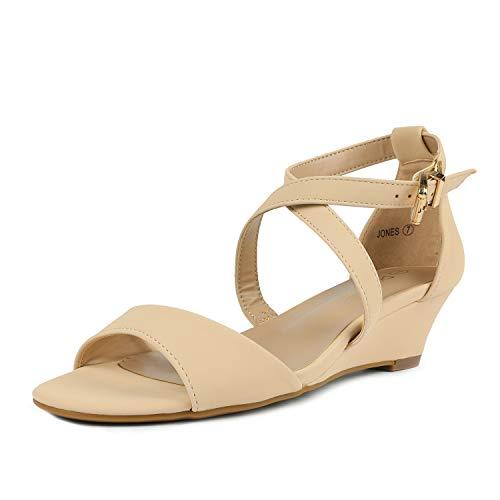 DREAM PAIRS Women's Jones Nude Nubuck Low Wedge Pump Sandals