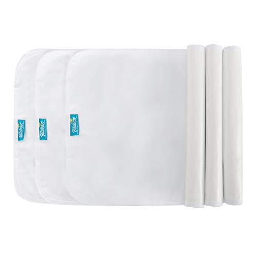 Changing Pad Liners Waterproof (3 Count), Flannel Portable & Durable Diaper Pads, White