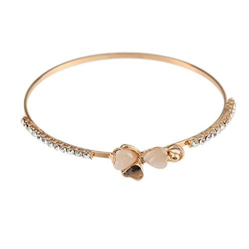 (XBKPLO Women Bracelet Lucky Clover Cuff Bangle Aluminum Alloy Sweet Female Accessories Jewelry Valentine's Day Present)