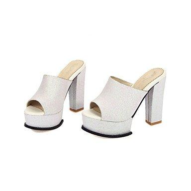LvYuan Tacón Robusto-Zapatos del club-Sandalias-Vestido Informal Fiesta y Noche-Purpurina Materiales Personalizados-Negro Rosa Blanco Plata Black