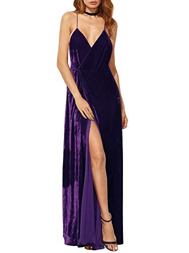 Neck Backless Verdusa Velvet Wrap V Women's Purple Dress Cocktai Party Sexy qxIAt