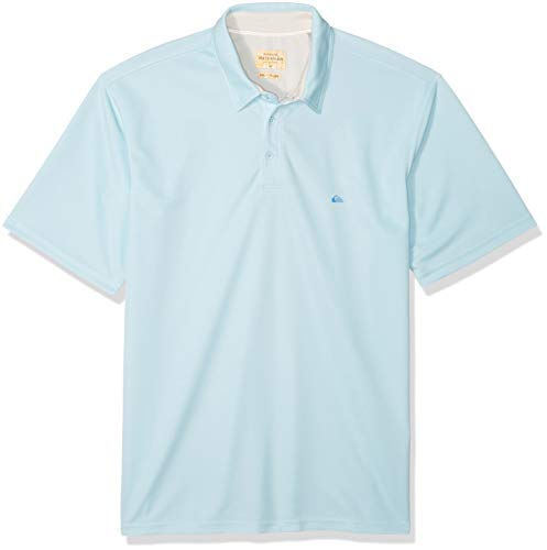 Up Shirt Quiksilver Button - Quiksilver Waterman Men's Water 2 Polo Shirt, Crystal Blue XXL