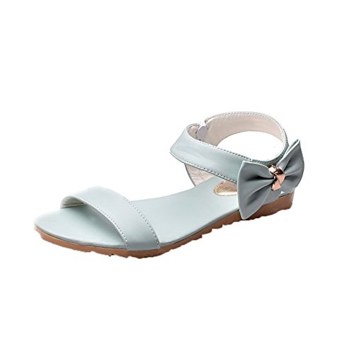 AalarDom Womens Open-Toe Low-Heels PU Solid Sandals Blue IoJdAc