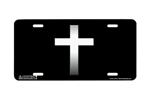 Airstrike Christian License Plate Cross in Silver Made in USA (Made of Metal)-623