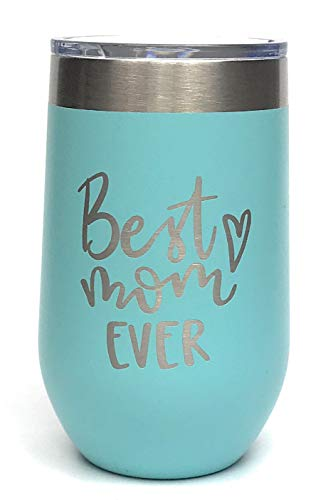 Gifts For Mom Insulated Wine Tumbler With Lid 16 oz Insulated Cup – Birthday Mom Gifts For Her - Best presents for mom from daughter or son (Turquoise) -