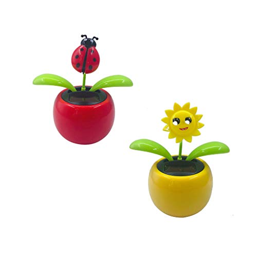 Fityle 2Pcs Solar Powered Flower Insect Dancing Doll Flip Flap Toy Home Decor Car Ornament Flowerpot Toy Figure