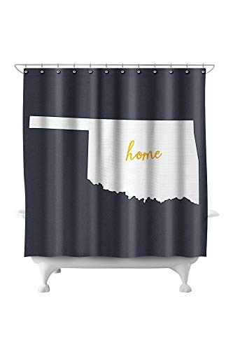 Oklahoma - Home State - White on Gray 66629 (74x74 Polyester Shower Curtain) - Oklahoma State Printed Curtain