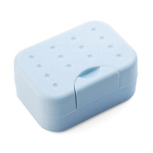 Winbang Piatto di sapone, di plastica portatile Viaggi Portasapone perdite con coperchio sapone contenitore a tenuta stagna, rettangolare blu