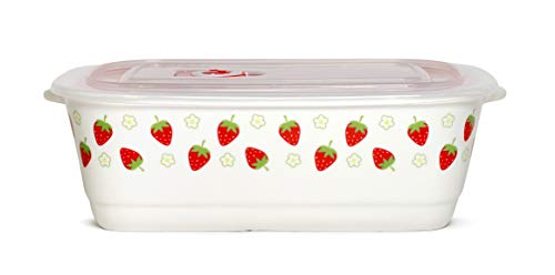 (Microwavable Ceramic Bento Box Lunch Box Food Container With Seal Fine Porcelain Rectangular Shape With Dividers (Strawberry))