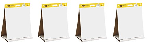 Pad Dry Easel Erase Tabletop - Post-it Super Sticky Tabletop Easel Pad, 20 x 23 inches, 20 Sheets/Pad, 1 Pad (563 DE), Portable White Premium Self Stick Flip Chart Paper, Dry Erase Panel, Built-in Easel Stand (Pack of 4)