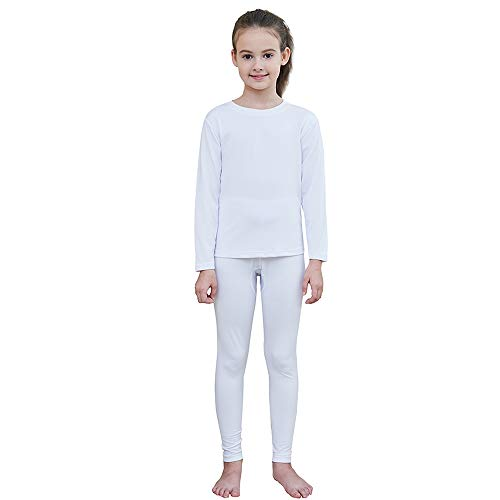 HEROBIKER Girls Ultra Soft Fleece Lined Thermal Underwear Kids Long Johns Top Bottom Set for Winter (White, Small)