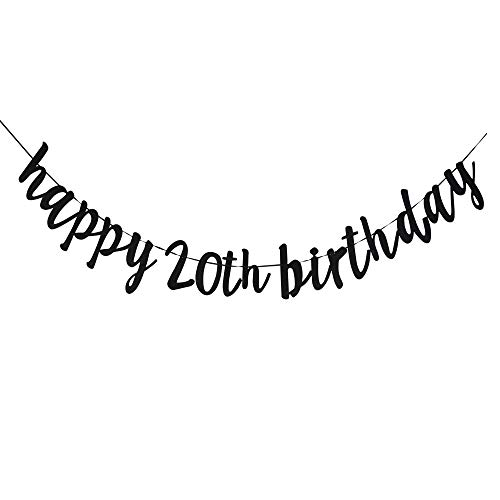 Happy 20th Birthday, 20th Birthday Party Hang Bunting Sign Decorations Photo Props, Party Favors, Supplies, Gifts, Themes and Ideas]()