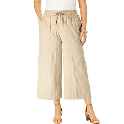 Roamans Women's Plus Size Gauze Wide-Leg Crop Pant - Sandy Beige, 32 W