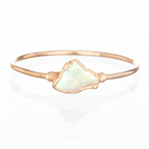 Mini Raw Opal Ring, Size 7, Yellow Gold, October Birthstone Stacking Ring