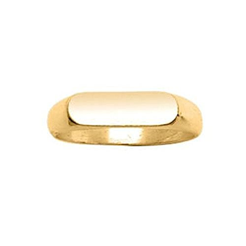 Vermeil 18k Plate Gold (So Chic Jewels - Vermeil - Silver Gilt (18k Gold over 925 Sterling Silver) Rounded Rectangular Plate Signet Ring - Customisable: Your Message Engraved Free - Size 9)