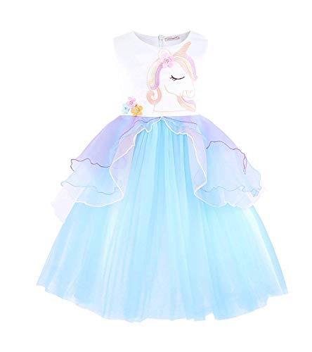 Girls Unicorn Tulle Dress Sleeveless Party Costume Evening Gowns(Blue -