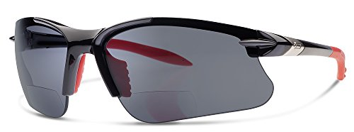 SL2 Pro Bifocal Reading Sunglasses by Dual Eyewear | Sun Readers Designed for Cycling and Sport with Wrap Around Fit | Made from Highest Quality Materials (Black frame / Gray - Glasses Cycling Bifocal