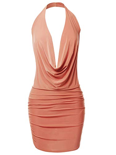 Peach Cocktail (Made by Emma Sexy Halter Neck Ruched Bodycon Backless Party Cocktail Mini Dress Peach S)