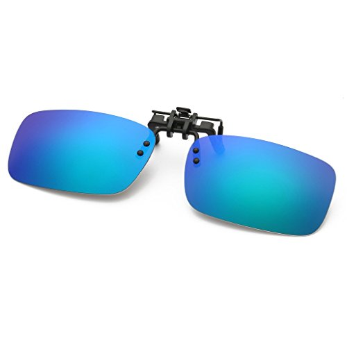 Simvey Retro Polarized Clip on Flip Up Sunglasses for Eyeglasses Rectangle - Low Best Sunglasses Fishing Cost