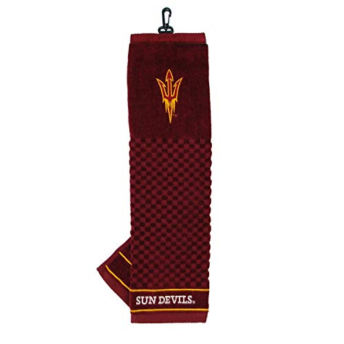 Team Golf NCAA Arizona State Sun Devils Embroidered Golf Towel, Checkered Scrubber Design, Embroidered Logo