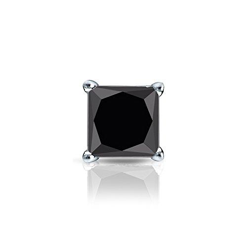 eec3f4940 Galleon - 18k White Gold 4-Prong Basket Princess Black Diamond SINGLE STUD  Earring (1 Ct, Black) Screw-Back