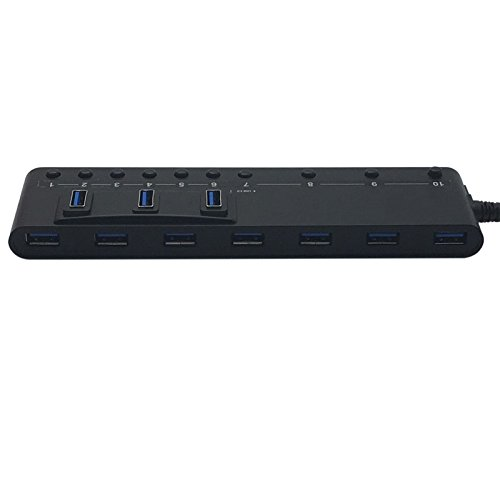 HornetTek 10-Port USB 3.0 Hub 5 Gbps Max with Individual On / Off Switches by HornetTek