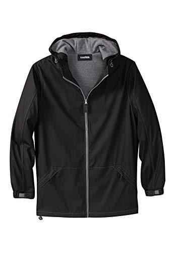 (KingSize Men's Big & Tall Fleece-Lined Rain Coat, Black Big-XL)