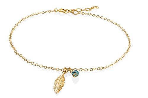 Gold Feather Anklet Tiny Swarovski Birthstone Blue Bead Gold Filled Summer Anklet Length 8.5