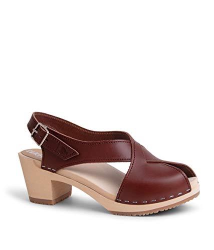 Sandgrens Swedish High Heel Wood Clog Sandals for Women | Morocco Cognac, EU 42 ()