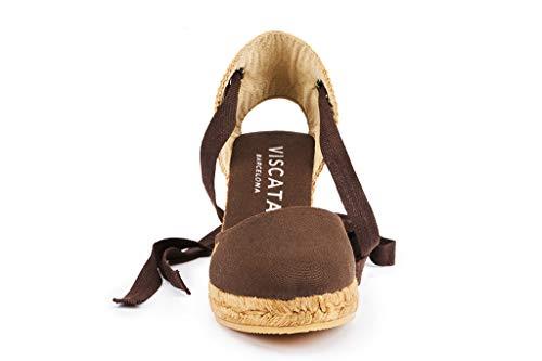 Classiche Prodotte Caviglia Spagna Brown Con Punta Zeppa Espadrillas Alla Viscata 3 Artigianalmente Lacci Chiusa 6 In Cm Sagaro wSaOxE