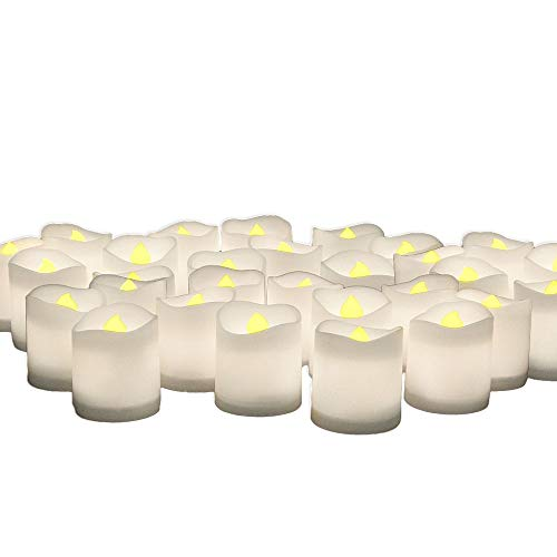 (LED Lighted Flickering Votive Candles White Flameless - Banberry Designs - Box of 48)