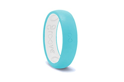 Groove Life - Groove Ring The World's First Breathable Silicone Ring Thin (Turquoise/Snow White) (Size 7)