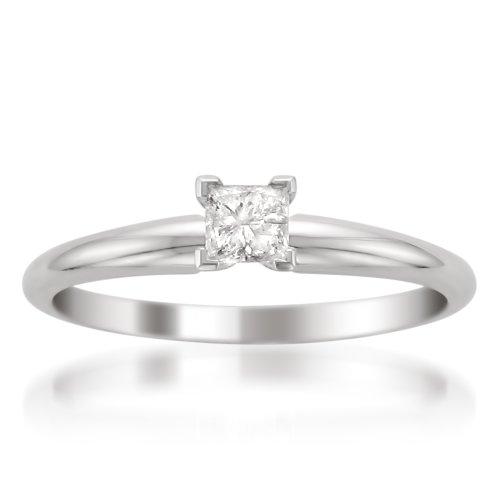 La4ve Diamonds 14k White Gold Princess-Cut Diamond Solitaire Engagement Ring (1/4 cttw, I-J, I2), Size 8 ()