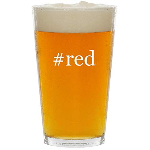 #red - Glass Hashtag 16oz Beer ()