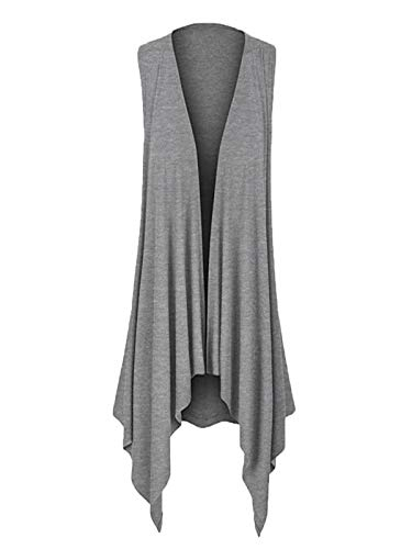 TANLANG Women's Sleeveless Irregular Cardigan T-Shirt Open Front Boyfriend Chunky Jersey Lightweight Draped Layering Vest