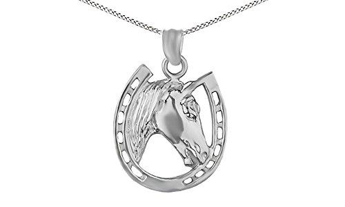 14k White Gold Over Horse face and Horseshoe Pendant Necklace (14k White Gold Horseshoes)