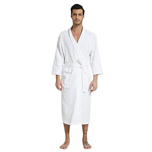 Mens Hooded Terry Cloth Bathrobe Cotton Kimono Spa Robe Solid Color with Pockets (Kimono White,Large)