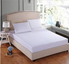 Trance Home Linen 100% Cotton 210TC Plain White Queen Fitted Bedsheet with 2 Pillow Covers