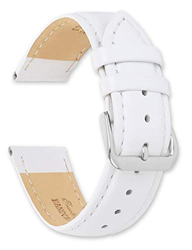 Smooth Leather Watchband White 15mm Watch Band - by deBeer