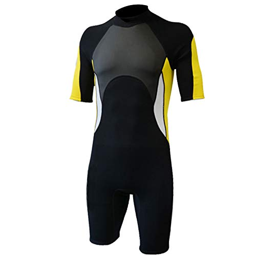 Nataly Osmann 2.5mm Neoprene Shorty Wetsuit for Women Men Short Sleeve Springsuit for Surfing Scuba Diving Swimming Kayaking Snorkeling (Yellow Men, XL)