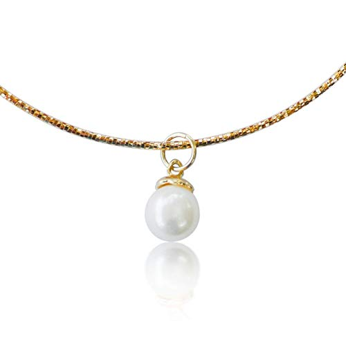 10K Yellow Gold Omega Choker Handcrafted with Stunning White Freshwater Single Pearl Pendant, Simple and Beautiful Drop Necklace, 16 Inch Chain with Lobster Clasp
