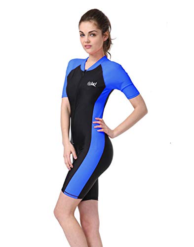 d38fc74907c8a BIKMAN One-Piece Snorkeling Surfing Swim Suit Short Sleeves Plus Size  Swimwear- Sun Protection (XL(Weight 143lbs-154lbs)