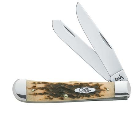 Case Amber Bone CV Trapper Pocket Knife