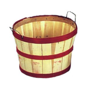 - Half Bushel Basket, Natural with 3 Red Bands