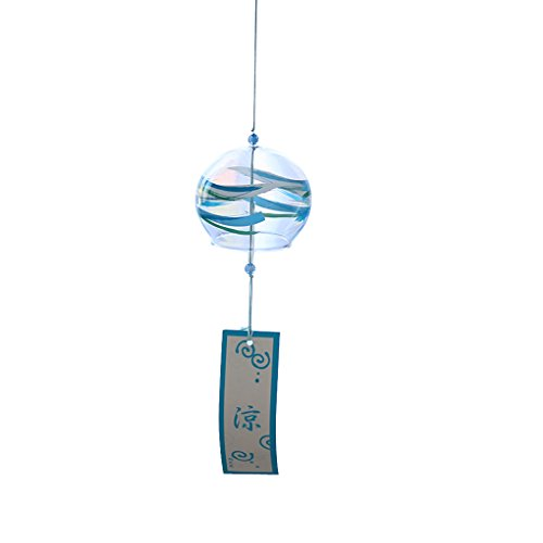 Japanese Wind Bell (MagiDeal Japanese Style Glass Wind Chimes Handmade Wind Bells Home Garden Hanging Decor DIY Crafts - Blue, 8x7cm)