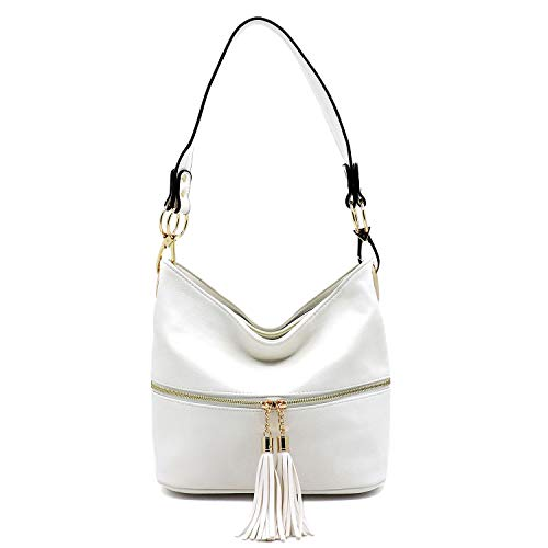 White Leather Handbag Purse - Vegan Faux Leather Bucket Shoulder Handbag Classic Purse