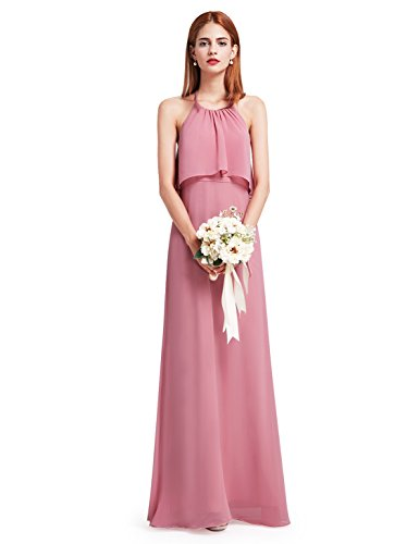 Ever Pretty Womens Flowy Halter Neck Bridesmaid Dress 4 US Dusty Rose